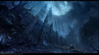 Chateau cityscapes dark moon drawings fantasy art wallpaper