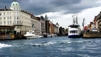 Copenhagen denmark houses nature ships wallpaper