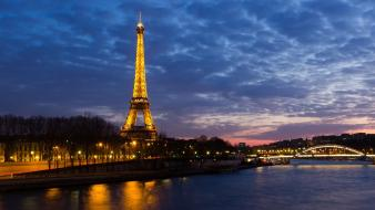 Eiffel tower architecture cities dusk lights wallpaper