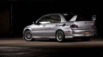 Evo ix mitsubishi lancer racing cars silver tuning wallpaper