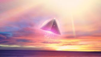 Futuristic light outer space pyramids retro wallpaper