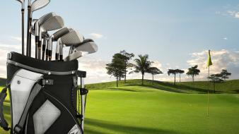 Golf clubs grass green wallpaper