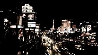Las vegas black and white buildings cars wallpaper