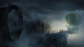 Legend of grimrock airship artwork cliffs dark wallpaper
