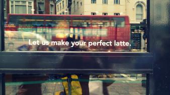 London starbucks bus doors letters wallpaper