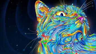 Matei apostolescu cats multicolor psychedelic Wallpaper