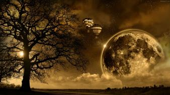 Moon hot air balloons planets sepia trees Wallpaper