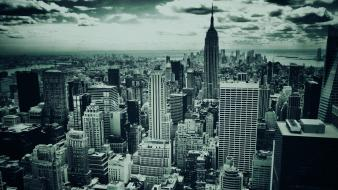 New york city cityscapes monochrome skylines wallpaper