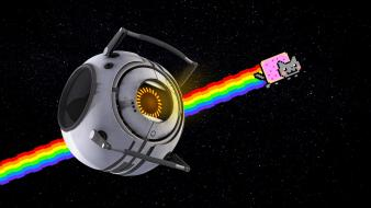 Nyan cat portal 2 space core wallpaper