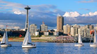 Seattle boats cityscapes city skyline landscapes wallpaper
