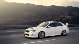 Subaru impreza wrx sti cars highways mountains wallpaper