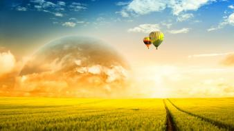 Sun countryside fields hot air balloons Wallpaper