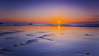 Sun sea sunset water wallpaper