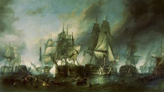 Trafalgar william clarkson stanfield battles paintings pirates wallpaper