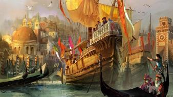 Artwork fantasy art medieval ships wallpaper