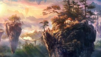 Artwork floating islands sunlight wallpaper
