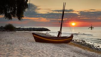 Baltic sea poland beaches boats wallpaper