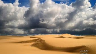 Clouds deserts dunes nature sand wallpaper