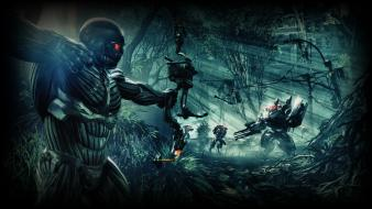 Crysis 3 bow weapon jungle robots soldiers Wallpaper