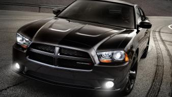 Dodge charger 500 black cars tire tracks Wallpaper