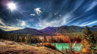 Hdr photography sun clouds mountains nature wallpaper