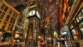 Hdr photography vancouver clocks urban wallpaper