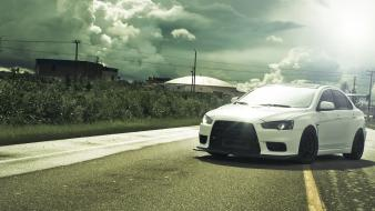 Lancer evo x mitsubishi evolution wrc cars clouds wallpaper