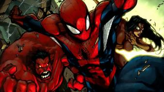 Marvel comics new avengers red hulk spiderman wallpaper