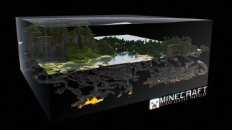 Minecraft block digital art fan landscapes wallpaper