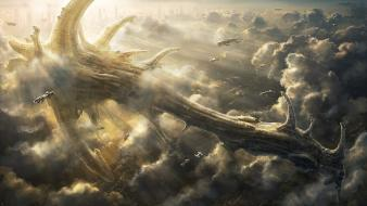 Radojavor airship clouds fantasy art futuristic wallpaper