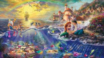 The little mermaid thomas kinkade boats castles wallpaper