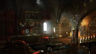 The witcher artwork interior room video games wallpaper