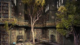 Abandoned books chairs dust globe Wallpaper