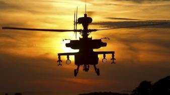 Ah64 apache aircraft helicopters sunset Wallpaper