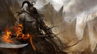 Armor artwork fantasy art fire soldiers wallpaper