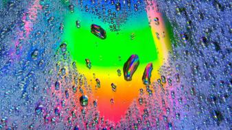 Art design hearts rainbows water drops Wallpaper