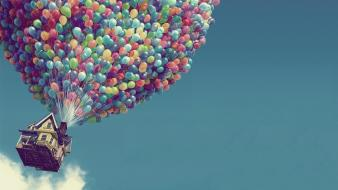 Artwork balloons house photo manipulation skyscapes Wallpaper