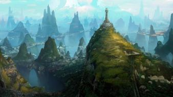 Artwork cityscapes cliffs drawings fantasy art Wallpaper