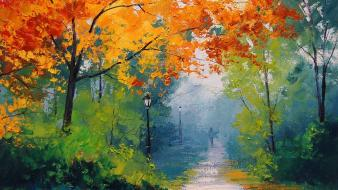 Autumn bushes lamp posts paint paintings wallpaper