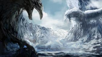 Birds fantasy art ice magic snow wallpaper
