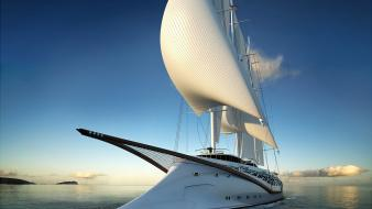 Blue skies horizon sails yatch wallpaper