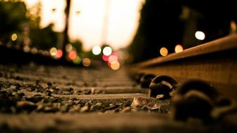 Blurred bokeh macro railroads railroad tracks Wallpaper