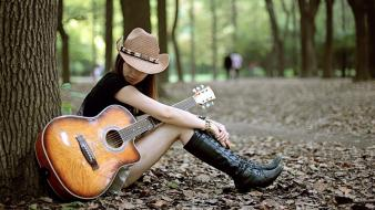 Brunettes guitarists guitars hats high boots wallpaper
