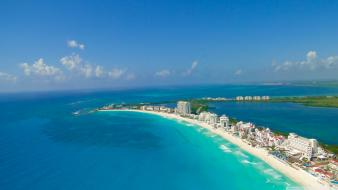 Cancun blue buildings cityscapes nature wallpaper