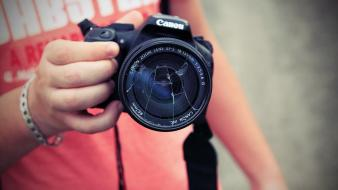 Canon cameras hands lens photographers wallpaper