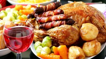 Carrots food potatoes roast chicken sausages wallpaper