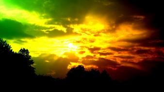 Clouds green red skyscapes sunset wallpaper