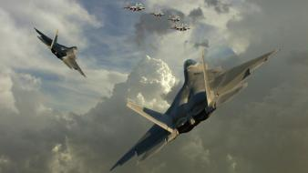 F22 raptor aircraft clouds formation jet wallpaper