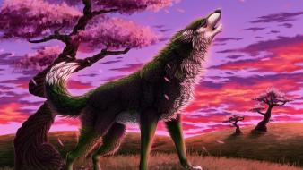 Fantasy art trees wolf howling Wallpaper