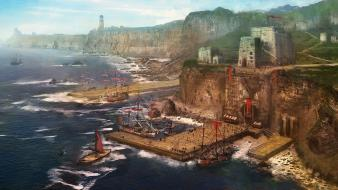 Fort boats fantasy art harbours landscapes wallpaper
